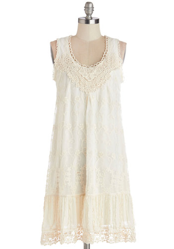 Breakfast and Bliss Dress - Cream, Crochet, Ruffles, Trim, Casual, Boho, Festival, Tent / Trapeze, Sleeveless, Better, Scoop, Mid-length, Chiffon, Sheer, Woven, Lace, Special Occasion, Daytime Party, Wedding, Bride, Lace
