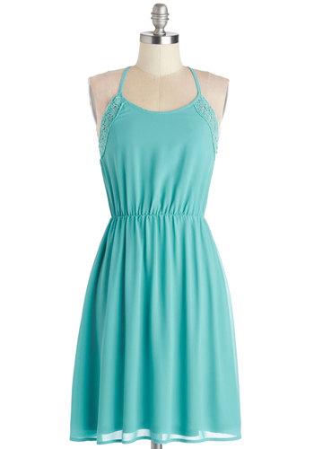 Spring Break Breeze Dress - Woven, Mid-length, Blue, Solid, Crochet, A-line, Racerback, Good, Scoop, Casual