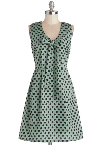 Save the Dot Dress by Tulle Clothing - Woven, Mid-length, Black, Polka Dots, Tie Neck, A-line, Sleeveless, Better, Green, Daytime Party, Exclusives