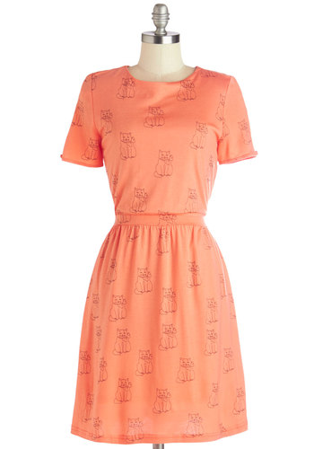 Fond Friends Dress - Orange, Black, Print with Animals, Backless, Cutout, Casual, Cats, A-line, Better, Scoop, Knit, Mid-length, Critters