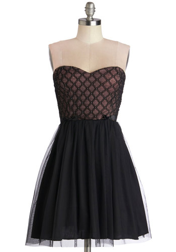 From First to Lattice Dress - Black, Bows, Rhinestones, Special Occasion, Prom, Ballerina / Tutu, Strapless, Good, Sweetheart, Mid-length, Knit, Woven