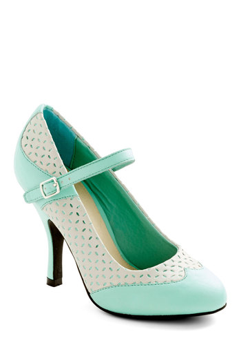 Outstanding Orator Heel - Mint, White, Solid, Cutout, Wedding, Party, Vintage Inspired, 20s, 30s, Pastel, Better, Mary Jane, High, Faux Leather