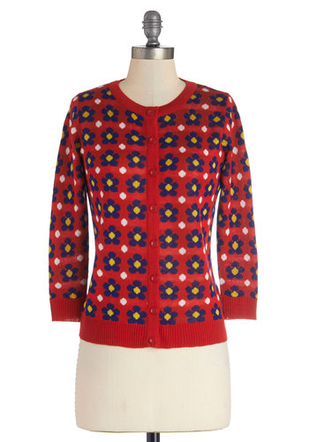 Primary Posies Cardigan - Knit, Mid-length, Red, Floral, Buttons, 3/4 Sleeve, Better, Red, 3/4 Sleeve, Yellow, Blue, White