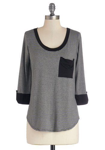Ready to Relax Top - Knit, Mid-length, Black, Grey, Stripes, 3/4 Sleeve, Black, 3/4 Sleeve, Good, Pockets