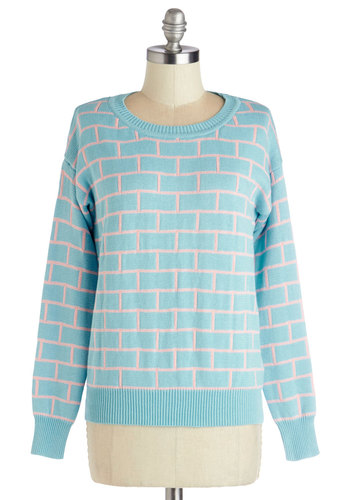 Build on Beauty Sweater by Kling - Cotton, Knit, Mid-length, Blue, Pink, Print, Vintage Inspired, 80s, 90s, Pastel, Long Sleeve, Spring, Better, International Designer, Blue, Long Sleeve