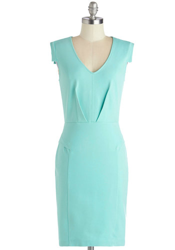 Change with the Clock Dress in Mint - Mint, Solid, Work, Shift, Cap Sleeves, Good, V Neck, Knit, Mid-length, Pastel, Variation
