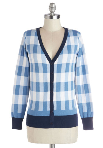 Up in the Sky Cardigan by Kling - Cotton, Knit, Mid-length, Blue, White, Plaid, Buttons, Casual, Long Sleeve, Better, Blue, Long Sleeve, Fall