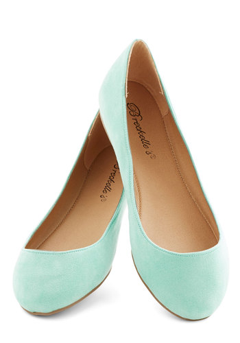 Pop, Skip, and a Jump Flat in Mint - Flat, Faux Leather, Mint, Solid, Casual, Minimal, Good, Variation, Pastel