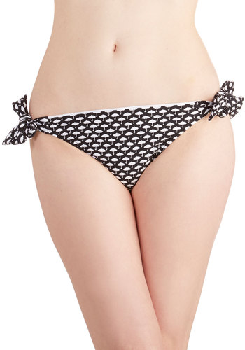 Playa del Parasol Swimsuit Bottom - Knit, Black, White, Novelty Print, Beach/Resort, Summer