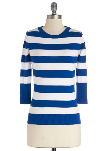 Astute as a Button Sweater - Blue, Knit, Mid-length, Blue, White, Stripes, Casual, Nautical, 3/4 Sleeve, Good, 3/4 Sleeve