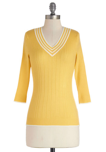 Radiantly Retro Sweater - Yellow, 3/4 Sleeve, Knit, Mid-length, Yellow, Solid, Casual, 3/4 Sleeve, Good, White