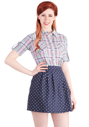 Delightful Duo Skirt - Good, Blue, Woven, Blue, Polka Dots, Casual, Daytime Party, High Waist, Short, White, Pleats, A-line
