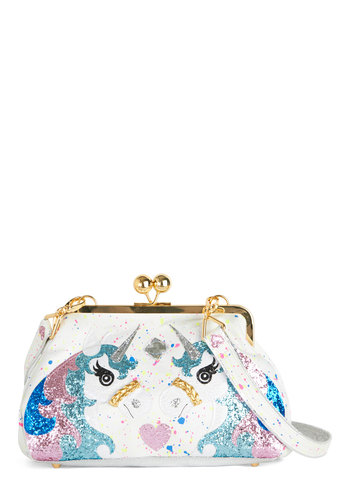 Mind, Body, and Carousel Bag by Irregular Choice - White, Multi, Print with Animals, Kawaii, Faux Leather, Woven, Glitter, Statement