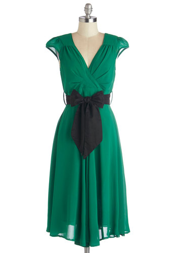 Have the Dance Floor Dress in Emerald - Party, Wedding, Bridesmaid, Sheer, Woven, Long, Green, Solid, Belted, A-line, Cap Sleeves, Better, V Neck, Black, Variation