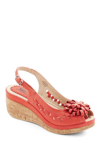 Sun in Your Step Wedge in Rouge - Low, Leather, Red, Solid, Cutout, Daytime Party, Spring, Summer, Better, Platform, Wedge, Espadrille, Slingback, Flower