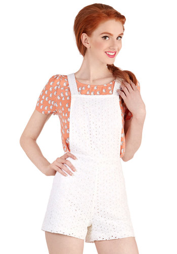 Rock Out and About Romper - Overalls, Good, White, Non-Denim, Cotton, Long, Festival, White, Eyelet, Casual, 90s, Vintage Inspired