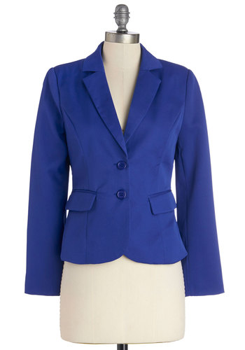 Feelin' In Charge Blazer in Sapphire - Short, Work, Woven, Blue, Solid, Menswear Inspired, Long Sleeve, Good, Collared, Blue, Long Sleeve, Buttons, Pockets, 1