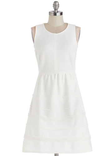 Delight in the Day Dress - Knit, White, Solid, Party, A-line, Sleeveless, Better, Scoop, Pockets, Mid-length, Show On Featured Sale