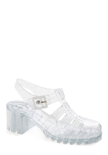Clear Point of View Heel - Mid, White, Solid, Casual, Faux Leather, Good, Ankle, Vintage Inspired, 90s, Chunky heel, Festival