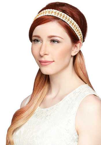 Meant to Bead Headband - White, Gold, Mint, Solid, Beads, Crochet, Special Occasion, Wedding, Daytime Party, Darling, Festival, Best