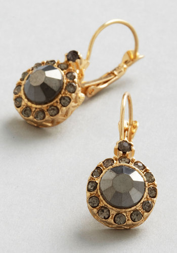A Rare Sight Earrings - Grey, Solid, Wedding, Luxe, Gold, Rhinestones, Bridesmaid, Bride, Gold