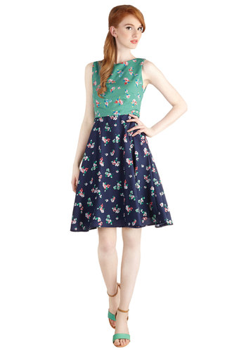 True Passionista Dress - Woven, Press Placement, Chiffon, Multi, Green, Blue, Floral, Daytime Party, A-line, Sleeveless, Exclusives, Spring, Show On Featured Sale, Long