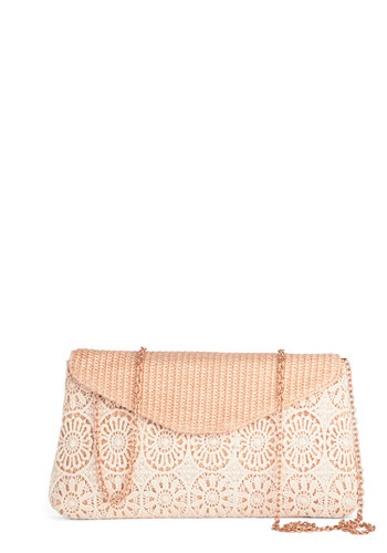 Sand Dollar Delight Clutch - Woven, Cream, Tan / Cream, Solid, Crochet, Daytime Party, Spring
