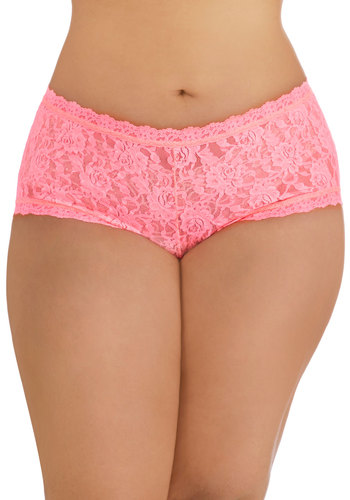 Hanky Panky Inspiring Start Undies in Pink - Plus Size by Hanky Panky - Sheer, Knit, Lace, Pink, Solid, Lace