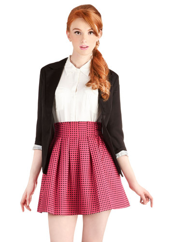 Pleats and Punch Skirt - Good, Pink, Short, Pink, Black, Polka Dots, Pleats, Full