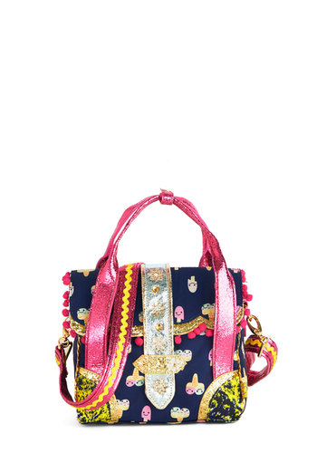 Bold as Ice Cream Bag by Irregular Choice - Blue, Multi, Tassels, Trim, Kawaii, Woven, Novelty Print, Quirky, Statement
