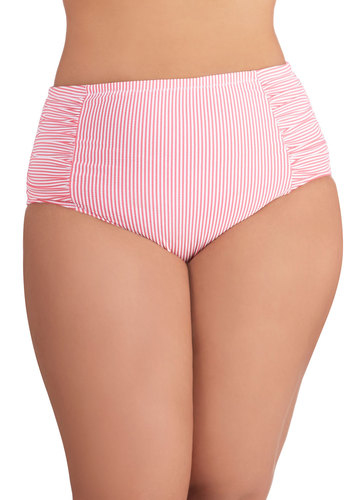 Sun Seeker Swimsuit Bottom in Plus Size by Jessica Simpson Swim - Pink, White, Stripes, Ruching, Beach/Resort, Summer, Knit, High Waist, Tankini, Americana