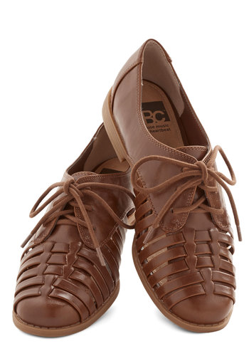 Woven Grove Flat by BC Footwear - Brown, Solid, Woven, Menswear Inspired, Better, Lace Up, Low, Faux Leather