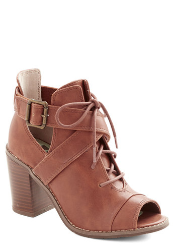 Poetry Emcee Bootie by BC Footwear - Buckles, Better, Lace Up, Peep Toe, Chunky heel, Mid, Faux Leather, Brown, Solid, Cutout