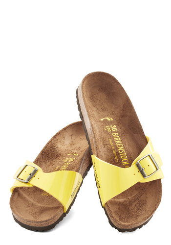 Zest Foot Forward Sandal in Lemon - Narrow by Birkenstock - Flat, Faux Leather, Yellow, Beach/Resort, Pastel, Better, Solid, Casual, Boho, Vintage Inspired, 70s, Variation, Festival, Summer, 90s