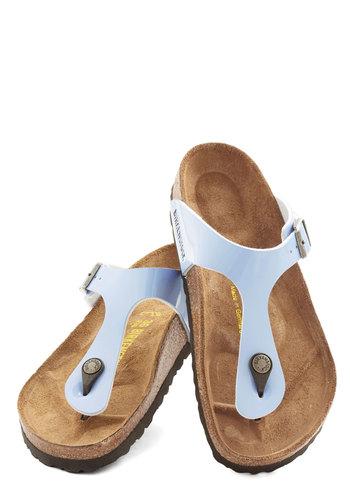 Boardwalk Games Sandal by Birkenstock - Flat, Faux Leather, Blue, Beach/Resort, Pastel, Better, Solid, Casual, Boho, Vintage Inspired, 70s, Variation, Festival, Summer, 90s