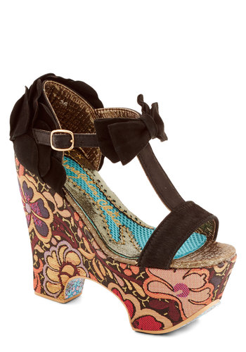 Groovy Star Heel by Irregular Choice - High, Faux Leather, Black, Multi, Solid, Floral, Bows, Party, Statement, Best, Platform, Wedge, T-Strap