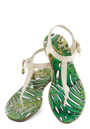 Palm Springs Promenade Sandal by Dolce Vita - Flat, Faux Leather, White, Green, Beach/Resort, Summer, Good, T-Strap, Solid