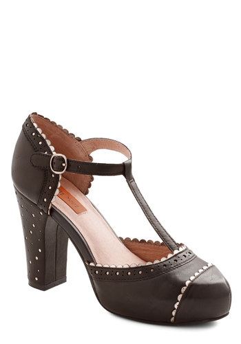 Insight to Behold Heel by Miz Mooz - High, Leather, Black, Solid, Scallops, Prom, Wedding, Party, Vintage Inspired, 20s, 30s, Best, Chunky heel, T-Strap