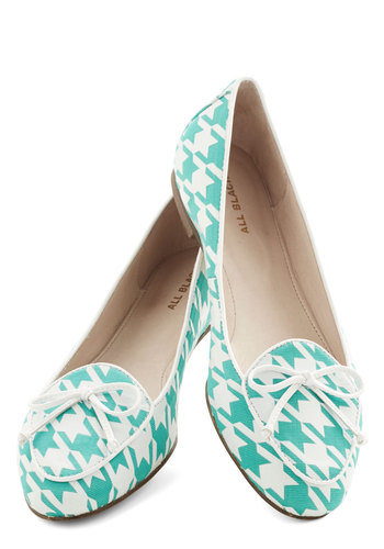 Twist and Haute Flat - Flat, Knit, Mint, White, Houndstooth, Bows, Work, Daytime Party, Menswear Inspired, Best