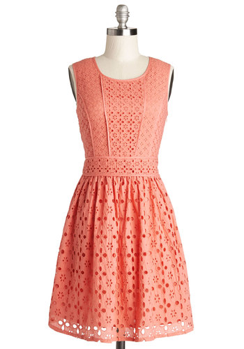 Making Melodies Dress by Yumi - Solid, Cutout, Eyelet, A-line, Sleeveless, Better, Scoop, Cotton, Woven, Mid-length, Pink, Daytime Party