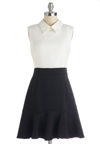 Meeting to Mixer Dress by Kling - Tan / Cream, Black, Twofer, Sleeveless, Better, Collared, Woven, Work, Mid-length