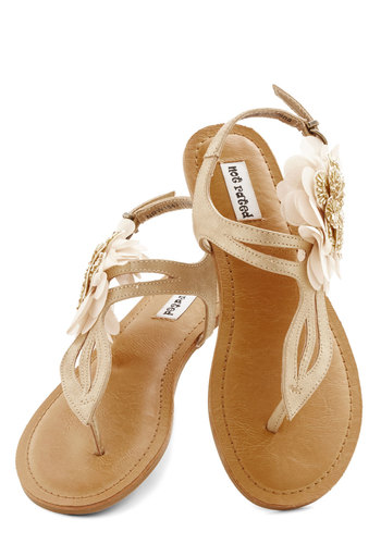 Romance Realized Sandal - Flat, Faux Leather, Gold, Solid, Flower, Casual, Beach/Resort, Spring, Summer, Good, T-Strap, Beads