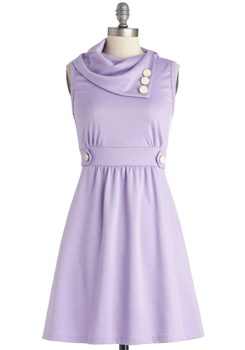 Coach Tour Dress in Lavender - Purple, Solid, Buttons, Casual, A-line, Sleeveless, Good, Cowl, Knit, Pockets, Pastel, Exclusives, Variation, Top Rated, Full-Size Run, Mid-length, Gals, Spring