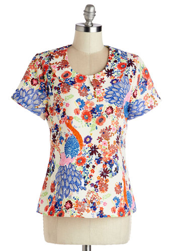 Work of Pop Art Top by Tulle Clothing - Floral, Peter Pan Collar, Better, Collared, Mid-length, Woven, Multi, Red, Blue, Tan / Cream, Print