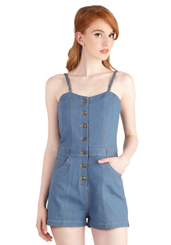 Take the Gambol Romper - Blue, Festival, Blue, Solid, Buttons, Pockets, Casual, 70s, 90s, Denim, Sweetheart, Medium Wash, Denim, Romper, Vintage Inspired, Long, Cotton, Knit, Summer, Daytime Party, Beach/Resort, Americana, Sleeveless, Spring, Best, Sleeveless, Boho