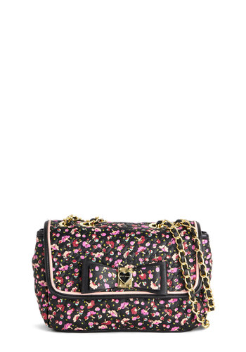 Betsey Johnson Bring Into Blossom Bag by Betsey Johnson - Black, Multi, Floral, Best, Black, Bows, Chain, Quilted