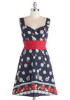 Color is Key Dress in Strawberries - Multi, Novelty Print, Pleats, Ruching, Daytime Party, Fruits, A-line, Sleeveless, Better, Sweetheart, Cotton, Mid-length, Blue, Summer, Sundress