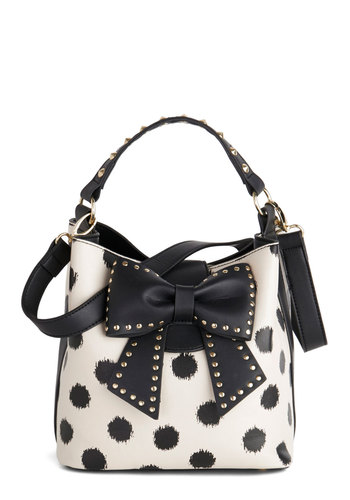 Betsey Johnson Outfit of the Daring Bag in Cream by Betsey Johnson - Cream, Black, Polka Dots, Bows, Studs, Best, Variation, Statement, Spring