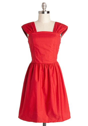Strawberry Sweetie Dress - Red, Solid, Daytime Party, A-line, Sleeveless, Better, Cotton, Woven, Party, Mid-length