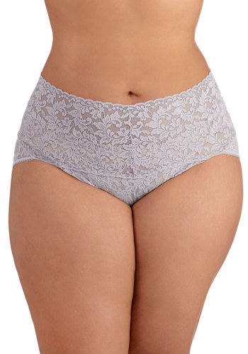 Hanky Panky Lacy and Lovely Undies in Lilac - Plus Size by Hanky Panky - Sheer, Knit, Lace, Purple, Solid, Lace, Pastel, Variation